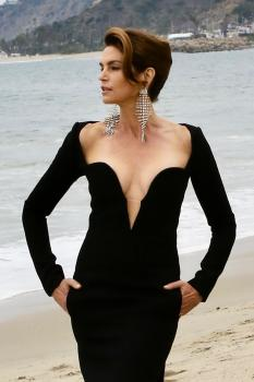 Cindy Crawford on the set of a photoshoot at the beach in Malibu 5/24/18
