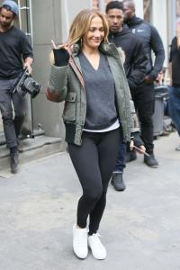 """Jennifer Lopez - In Tights Leaving The """"Second Act"""" Set in NYC (5/6/18)"""